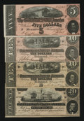 Confederate Notes:1864 Issues, Four 1864 Confederate Notes.. ... (Total: 4 notes)