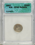 Seated Half Dimes: , 1857 H10C --Cleaned--ICG. XF40 Details. NGC Census: (1/636). PCGSPopulation (6/521). Mintage: 7,280,000. Numismedia Wsl. Pr...