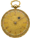 Timepieces:Pocket (pre 1900) , Swiss Gold Fusee with Multicolor Dial, circa 1865. ...