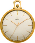 Timepieces:Pocket (post 1900), Omega Gent's 18k Gold Pocket Watch, circa 1960's. ...