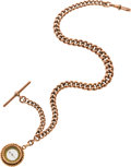 Timepieces:Watch Chains & Fobs, Heavy Rose Gold Watch Chain & Compass Fob, circa 1870. ...