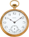Timepieces:Pocket (post 1900), E. Howard Watch Co. Gold Pocket Watch, circa 1920. ...