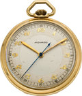 Timepieces:Pocket (post 1900), Movado Gold Center Seconds Pocket Watch, circa 1930. ...