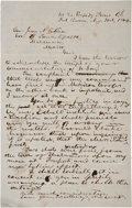 "Autographs:Military Figures, John S. ""Rip"" Ford Autograph Letter Draft (Unsigned) to Mexican General Juan Cortina. One page, 8"" x 12.5"", August 31, 1864,..."
