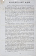 """Autographs:Military Figures, Confederate Broadside: Goliad County. One and one-half page, 7.75"""" x 12"""", June 1, 1864, revealing the names and traitorous a..."""