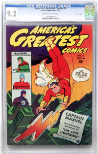 America's Greatest Comics #5 - Crowley Pedigree Copy (Fawcett Publications, 1942) CGC NM- 9.2 Cream to off-white pages...