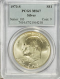 Eisenhower Dollars: , 1973-S $1 Silver MS67 PCGS. PCGS Population (2817/771). NGC Census: (446/95). Mintage: 869,400. Numismedia Wsl. Price for N...