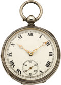 Timepieces:Pocket (pre 1900) , Swiss Silver Key Wind Pocket Watch, circa 1870. ...
