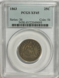 Seated Quarters: , 1863 25C XF45 PCGS. PCGS Population (3/54). NGC Census: (2/44).Mintage: 191,600. Numismedia Wsl. Price for NGC/PCGS coin i...