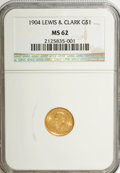 Commemorative Gold: , 1904 G$1 Lewis and Clark MS62 NGC. NGC Census: (139/855). PCGSPopulation (234/1434). Mintage: 10,025. Numismedia Wsl. Pric...