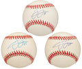 Autographs:Baseballs, Frank Thomas Single Signed Baseballs Lot Of 3. ...