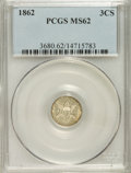 Three Cent Silver: , 1862 3CS MS62 PCGS. PCGS Population (99/748). NGC Census: (68/790).Mintage: 343,000. Numismedia Wsl. Price for NGC/PCGS co...