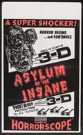 """Movie Posters:Horror, The Flesh and Blood Show (EVI, R-1974). One Sheet (27.25"""" X 44.5"""") 3-D Style. Re-released as Asylum of the Insane.. ..."""