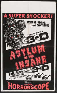 "The Flesh and Blood Show (EVI, R-1974). One Sheet (27.25"" X 44.5"") 3-D Style. Re-released as Asylum of the Ins..."