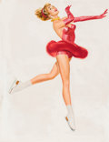 Pin-up and Glamour Art, FRITZ WILLIS (American, d. 1979). Ice Skater in Red. Oil onboard. 26 x 20 in.. Not signed. ...