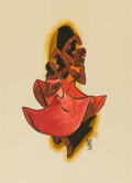 Mainstream Illustration, LEO POLITI (American, 1908-1996). Two Women Dancing, 1935.Watercolor on paper. 15 x 11 in.. Signed lower right. ...