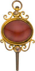 Timepieces:Watch Chains & Fobs, Large Antique Watch Key with Carnelian, circa 1820. ...