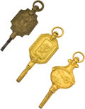 Timepieces:Watch Chains & Fobs, Three Unique Watch Keys, circa 1850. ... (Total: 3 Items)