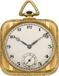 Timepieces:Pocket (post 1900), Majestic Gent's Gold Square Cased Pocket Watch, circa 1915. ...