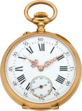 Timepieces:Pocket (pre 1900) , Swiss Men's Rose Gold Pocket Watch, circa 1880. ...