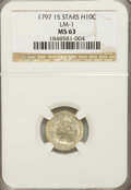 Early Half Dimes, 1797 H10C 15 Stars MS63 NGC. LM-1. NGC Census: (7/18). PCGSPopulation (6/6). Mintage: 44,527. Numismedia Wsl. Price for NG...