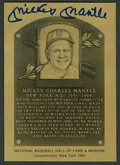 Autographs:Sports Cards, 1981-89 Mickey Mantle Signed Hall of Fame Metallic Plaque-Card....