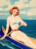Paintings, ENOCH BOLLES (American, 1883-1976). Breezy Stories, pulp cover, July 1936. Oil on canvas. 30 x 22 in.. Not signed. ...