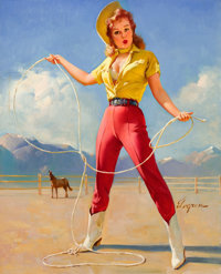 GIL ELVGREN (American, 1914-1980) Perfect Form, 1968 Oil on canvas 30 x 24 in. Signed lower ri