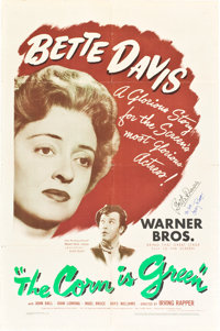 "The Corn is Green (Warner Brothers, 1945). Autographed One Sheet (27"" X 41"")"