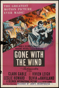 """Gone with the Wind (MGM, R-1954). One Sheet (27"""" X 41""""). Romance"""
