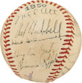 Autographs:Baseballs, 1950 New York Giants Old Timers Signed Baseball with Mel Ott....