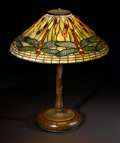 "Decorative Arts, American:Lamps & Lighting, TIFFANY STUDIOS. A ""Dragonfly"" Leaded Glass and Bronze Table Lamp, circa 1910. Dragonfly cone shade, model no. 1495, stamped..."