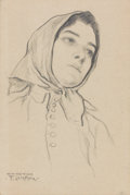 Mainstream Illustration, FRANCIS LUIS MORA (American, 1874-1940). Portrait of aWoman. Graphite on paper. 7.25 x 5 in.. Signed lower left. ...