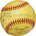 Autographs:Baseballs, 1939 Brooklyn Dodgers Team Signed Rare Yellow Baseball....