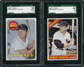 Baseball Cards:Lots, 1966 and 1969 Topps Mickey Mantle SGC-Graded Pair.... (Total: 2cards)