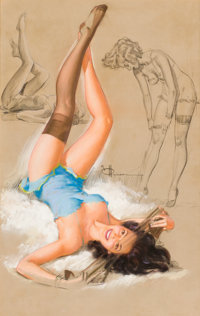 KNUTE O. MUNSON (American, 20th Century-) Pin-up Mixed-media on board 32 x 20.5 in. Signed cen