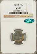 Seated Dimes, 1877-S 10C MS66 NGC. CAC....