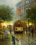 Paintings, G. HARVEY (American, b. 1933). Powell Street Cable Cars. Oil on canvas. 20 x 16 inches (50.8 x 40.6 cm). Signed lower ri...
