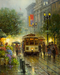 G. HARVEY (American, b. 1933) Powell Street Cable Cars Oil on canvas 20 x 16 inches (50.8 x 40.6