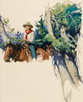 Paintings, WILLIAM HENRY DETHLEF KOERNER (American, 1878-1938). Story Illustration of a Cowgirl. Oil on artist's board. 34 x 27-1/2...