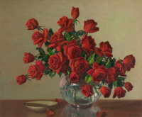 A. D. GREER (American, 1904-1998) Red Roses Oil on canvas 25 x 30 inches (63.5 x 76.2 cm) Sign