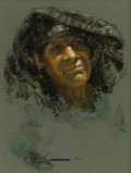 Western:20th Century, RAMON KELLEY (American, b. 1939). The Mexican Shawl, 1980. Pastel on paper. 20 x 19 inches (50.8 x 48.3 cm). Signed and ...