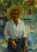 Western:20th Century, RAMON KELLEY (American, b. 1939). The Best Polisher of Taxco Mexico, 1979. Oil on canvas laid on board. 13-1/2 x 9-1/2 i...