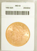 1893 $20 MS63 ANACS. NGC Census: (571/52). PCGS Population (587/58). Mintage: 344,200. Numismedia Wsl. Price for NGC/PCG...