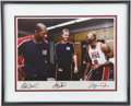 Basketball Collectibles:Others, Magic Johnson, Larry Bird and Michael Jordan UDA Signed Photograph....