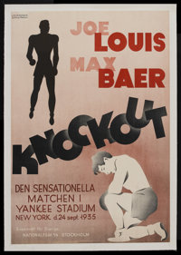 "Knockout (National Film Stockholm, 1936). Swedish One Sheet (27.5"" X 39.5""). Sports. Starring Joe Louis, Max B..."