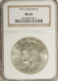 Eisenhower Dollars: , 1971-S $1 Silver MS65 NGC. NGC Census: (490/667). PCGS Population (1663/1651). Mintage: 2,600,000. Numismedia Wsl. Price fo...