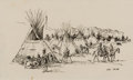 Western:20th Century, NED JACOB (American, b. 1938). Indian Camp. Pen and ink on paper. 4-1/2 x 7-1/2 inches (11.4 x 19.1 cm) window. Signed l...