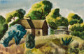 Works on Paper, WARD LOCKWOOD (American, 1894-1963). Landscape. Watercolor and pastel on paper. 13 x 20 inches (33.0 x 50.8 cm) window. ...
