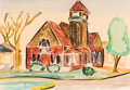 Texas:Early Texas Art - Drawings & Prints, KELLY FEARING (American, b. 1918). Country Church, 1941.Watercolor on paper. 13-3/4 x 20 inches (34.9 x 50.8 cm) window...